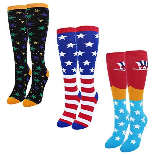 Women's Girls Novelty Over Calf Knee High Socks Funny Funky American Flag Uncle Sam Boot Socks, 3 Pack with Gift Box