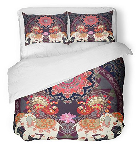 Emvency Bedsure Duvet Cover Set Closure Printed Ornamental in Indian Thai with Fairy Peacocks Cute Elephants Mandala Sun and Lotus Decorative Breathable Bedding Set With 2 Pillow Shams Twin Size by Emvency