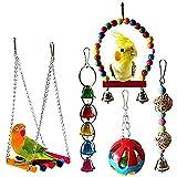 PUBAMALL Bird Swings Toys, Hanging Bell, Bird Cage Chew Toy para pequeños periquitos, cacatúas, guacamayos y pájaros del Amor