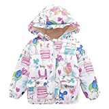 Child Coats, Girls Winter Cartoon Print Coat Thick Warm Hooded Cloak Jacket for 0-5 Years Old Kids Casual Outwears (2-3 Years Old, White)