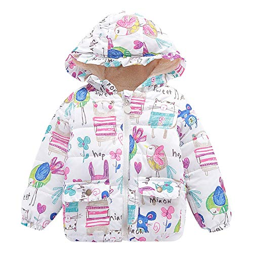 Winter Kids Coat,Fineser Toddler Kids Baby Girl Boy Cartoon Print Hooded Coat Cloak Jacket Thick Warm Outerwear Clothes (White, 3 Years(XL))