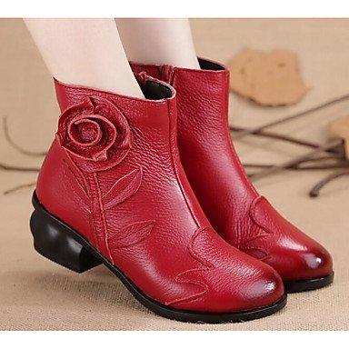 y Botines plano auténtico 5 mujer de UK5 Moda botines EU38 cuero CN38 combate de pu US7 rojo Invierno negro botas 5 RTRY casual para botas Zapatos botas talón FR6xwnq