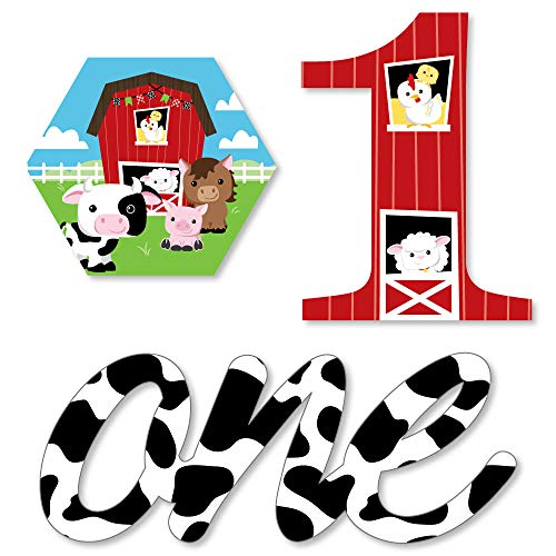 (1st Birthday Farm Animals - DIY Shaped Barnyard First Birthday Party Cut-Outs - 24 Count)