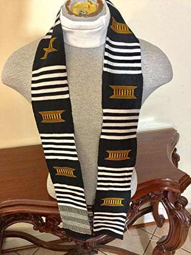Traditional Black White And Gold Handwoven Ghana Kente ()