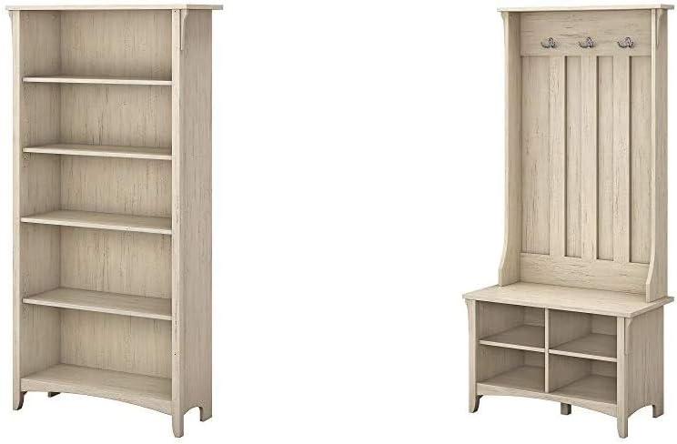 Bush Furniture Salinas 5 Shelf Bookcase in Antique White & Salinas Hall Tree with Storage Bench in Antique White
