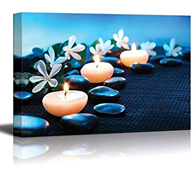 Canvas Prints Wall Art - Candles and Black Stones on Black Mat Spa Concept | Modern Wall Decor/Home Decoration Stretched Gallery Canvas Wrap Giclee Print. Ready to Hang - 32