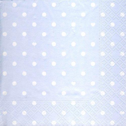 20 Servietten Hearts and Dots blue - Herzen & Punkte hellblau / Muster 33x33cm