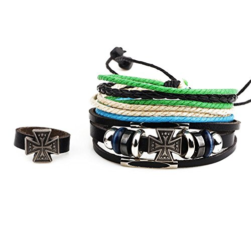 Winter's Secret Three Piece Suit Multi Strand Cross Alloy Beaded Adjusatble Black Leather Wrap Bracelet