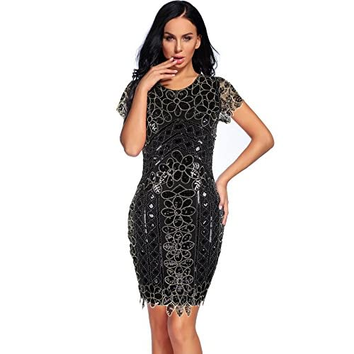 1920s Sequin Dress Embroidered Great Gatsby Plus Size Flapper Dress