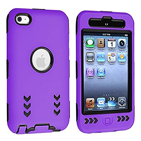 Black Hard/ Purple Skin Arrow Hybrid Case Cover compatible with Apple iPod Touch 4G, 4th Generation, 4th Gen 8GB / 32GB / (Ipod 8gb 4th Gen)