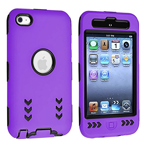 Black Hard/ Purple Skin Arrow Hybrid Case Cover compatible with Apple iPod Touch 4G, 4th Generation, 4th Gen 8GB / 32GB / 64GB