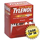 Tylenol Extra Strength Acetaminophen 36 Boxes of Individually Wrapped Medication, 50 Doses of Two Tablets, 500mg (1800 total)