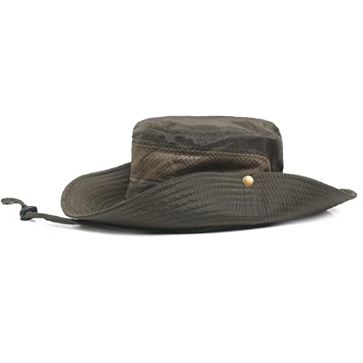King Star Men Fishing Sun Boonie Cowboy Hat Summer Mesh Cap Outdoor Bucket  Hats Army Green f8fafcacf869