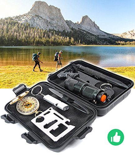 Emergency Survival Gear Kit - 11 in 1 Survival Tool EDC Camping Fishing Trekking Wild Adventure Earthquake Mountaineering Birthday Graduation Valentines Fathers Day Christmas Gift for Men Husband Dad