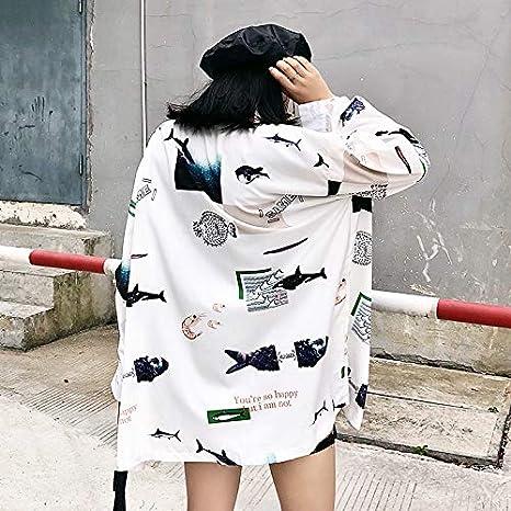 Women Shot Autumn Loose Personality Print Long-Sleeved Sunscreen Shirt Female