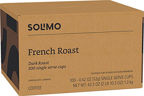 Amazon Brand - 100 Ct. Solimo Dark Roast Coffee Pods, French Roast, Compatible with 2.0 K-Cup Brewers by Solimo (Image #5)
