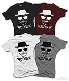 Ladies Heisenberg T-SHIRT Walter White One Who Knocks Breaking Bad Inspired (Medium, Grey)