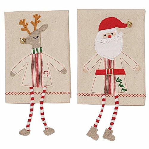Mud Pie Christmas Dangle Leg Towels Set/2