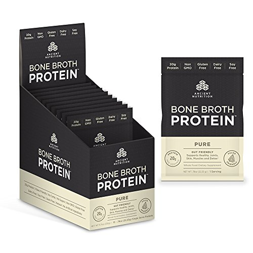 Ancient Nutrition Bone Broth Protein, Pure Flavor, 15 Count - Single Serving Packets of All-Natural, Gut-Friendly, Paleo-Friendly Protein Powder