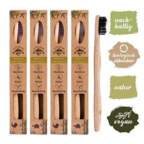 4er Pack Bambus Zahnbürste mit reinem Bambus-Holz ✮ vegan ✮ biologisch abbaubar ✮ 100% frei von BPA ✮ Borsten mit Bambus…