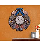 CraftVatika Handmade Wall Clock - 2.1 FT Large Peacock Elephant Hand Carved Painted Wooden Clock Wall Sculpture