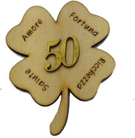 Segnaposto Per 50 Anni Di Matrimonio.Dlm27253 Calamita Magnete Segnaposto Quadrifoglio 50 Anniversario