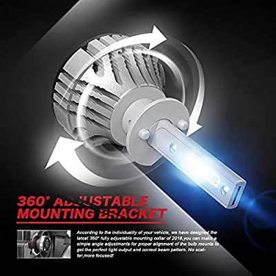 KATANA H1 LED Headlight Bulbs,CREE Chips 12000Lm 6500K Extremely Bright Conversion Kit,360 Degree Adjustable Beam Angle: Automotive