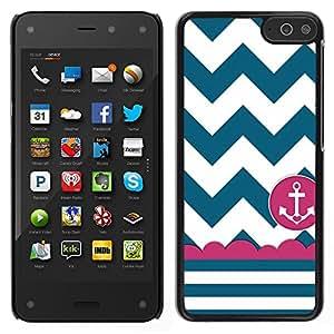 LECELL--Funda protectora / Cubierta / Piel For Amazon Fire Phone -- Marinero del marinero de la nave Ancla Teal blanco --