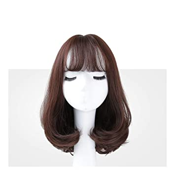 a8169b243c5eb Amazon.com : New Color Matching Shoulder Pear Flower Wig Female Long Roll  Round Face Air Qi Liu Hai Clavicle Curls Realistic Natural (color : Brown)  : ...
