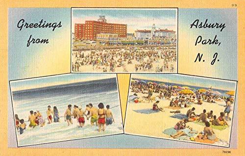 Asbury Park New Jersey Greetings Linen Vintage Postcard JA454163
