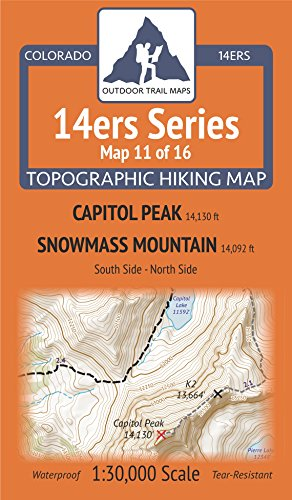 (Colorado 14ers Maps Series 11 of 16 - Capitol | Snowmass)