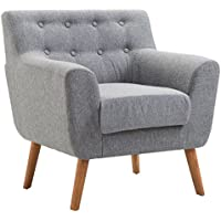 Giantex Tufted Arm Chair Fabric Upholstered Wood Leg Mid Century Sofa Accent Chair (Gray)