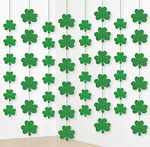 (St. Patrick's Day Shamrock Decoration Glitter Green Party Hanging Ornaments Supplies Glitter Garland Lucky Irish Clover, 48)
