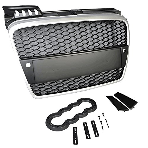 Front Grille Compatible With 2006-2008 Audi A4 | Audi RS style ABS Plastic Silver Bumper Hood Grill Exterior Guard by IKON MOTORSPORTS | 2007