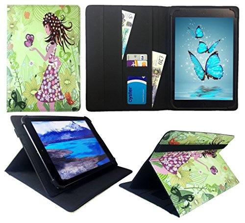 Sweet Tech Cello T1144 10 Inch Tablet Girl Butterfly Universal Wallet Case Cover Folio (10-11 - Cello Butterfly