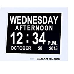 Clear Clock Digital Memory Loss Calendar Day Clock With Optional Day Cycle Mode Perfect For Seniors (White)