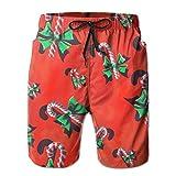 FayBrook Men's Candy Cane Christmas Gift Board Shorts Swim Trunks