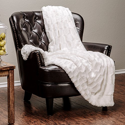 "Price comparison product image Chanasya Super Soft Fuzzy Fur Elegant Faux Fur Rectangular Embossed Pattern With Fluffy Plush Sherpa Cozy Warm Off White Microfiber Throw Blanket (50"" x 65"") - Off White"