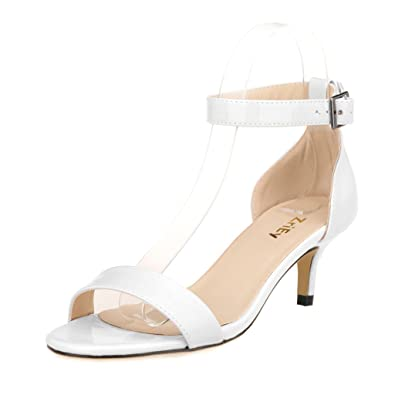 ZriEy Women Sexy Open Toe Ankle Straps Low Heel Sandals White size 5