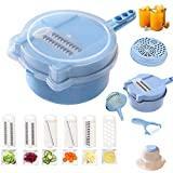 Allinone Vegetable Slicer Vegi Grater 11 in 1 Multi-function Easy Food Cutter Professional Cheese Chopper with Salad Cutter Bowl