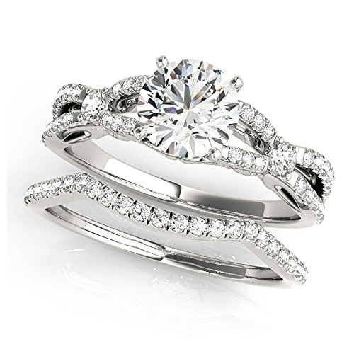 14K White Gold Unique Wedding Diamond Bridal Set Style MT50937
