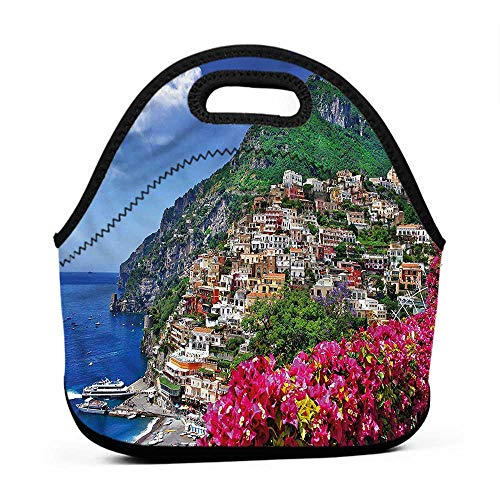 Convenient Lunch Box Tote Bag Italy,Positano Amalfi Naples,camping lunch bag for men ()
