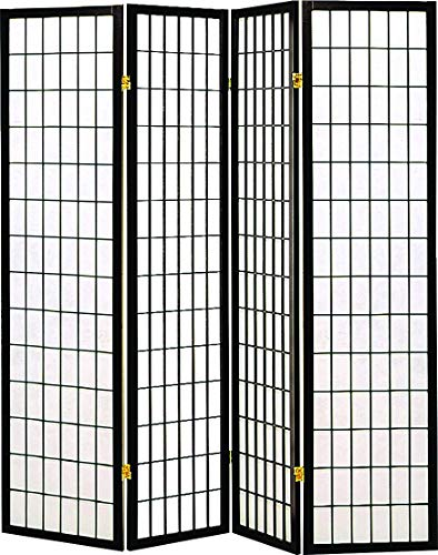 Coaster Transitional Black Four-Folding Panel Screen