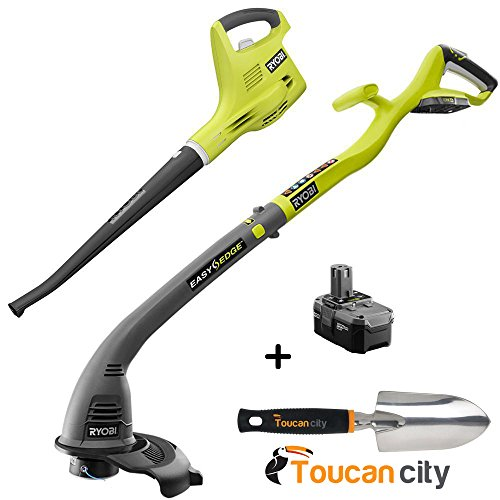 Ryobi ONE+ 18-Volt Lithium-Ion String Trimmer/Edger and Blower/Sweeper Combo Kit - 2.6 Ah Battery and Charger Included P2034 and Toucan City Hand Trowel by Toucan City