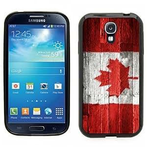 Samsung Galaxy S4 SIIII Black Rubber Silicone Case - Canada National Flag on wood design