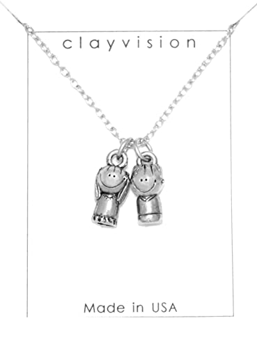 Amazon clayvision sister charm little boy brother charm clayvision sister charm little boy brother charm necklace mozeypictures Image collections