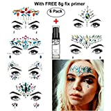 Face Jewels, HITOP 6 Pack Body Jewels with 1 Fix Gel Jewelry Stickers Rhinestone, Mermaid Temporary Tattoo Waterproof Self Adhesive Crystal Jewel Stickers for Festival Make-Up (SET1)