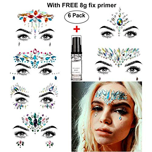 Face Jewels, HITOP 6 Pack Body Jewels with 1 Fix Gel Jewelry Stickers Rhinestone, Mermaid Temporary Tattoo Waterproof Self Adhesive Crystal Jewel Stickers for Festival Make-Up (SET1) by HITOP