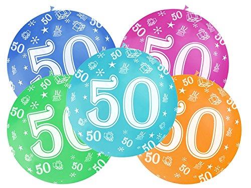 5 Unidades Globos Látex XXL 1 metro cumpleaños 50 años ...