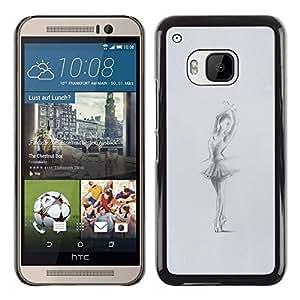FlareStar Colour Printing Ballerina Dancer Grey Charcoal Sketch cáscara Funda Case Caso de plástico para HTC One M9